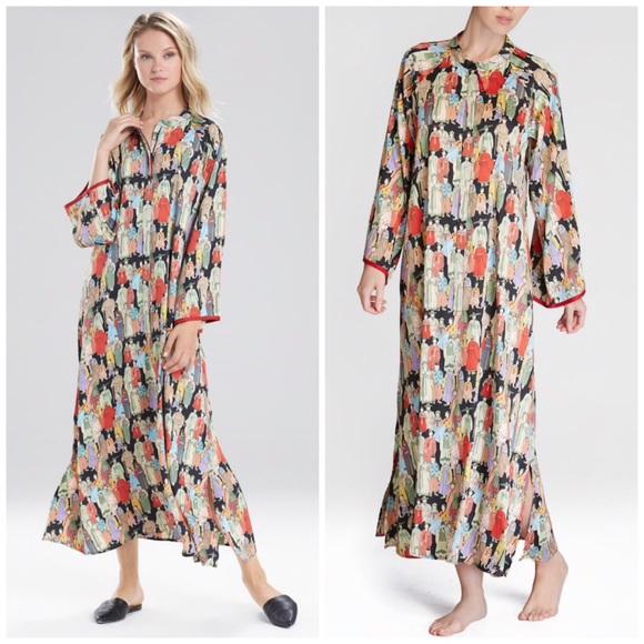 Natori Dynasty Mandarin Zip Caftan Gown